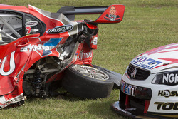 The wrecked cars of Alexandre Prémat and Fabian Coulthard