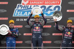 Podium: race winner Jamie Whincup, second place Mark Winterbottom, third place Craig Lowndes