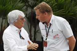 (L to R): Bernie Ecclestone, CEO Formula One Group, with Jonathan Jonathan Nicholas, FOM Television Executive Producer