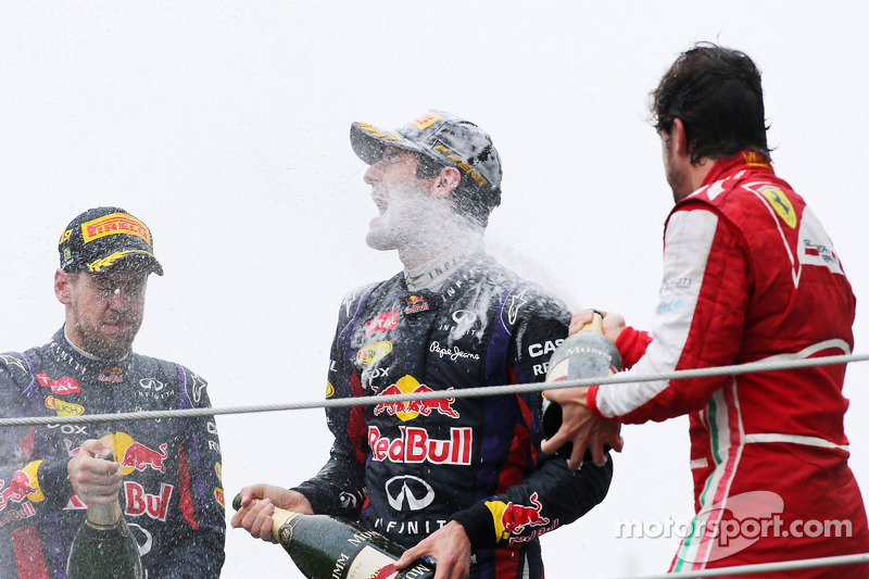 Sebastian Vettel, Red Bull Racing, Mark Webber, Red Bull Racing y Fernando Alonso, Scuderia Ferrari