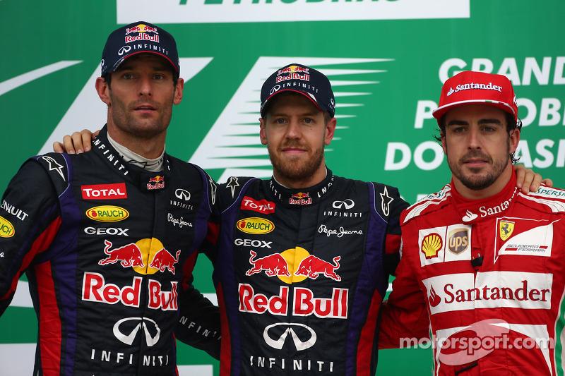 1e plaats Sebastian Vettel, Red Bull Racing, 2e plaats voor Mark Webber, Red Bull Racing en 3e plaat