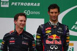 Christian Horner, Director del Red Bull Racing y Mark Webber, Red Bull Racing RB9