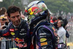 Race winner Sebastian Vettel, Red Bull Racing celebrates with team mate Mark Webber, Red Bull Racing in parc ferme