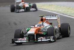 Adrian Sutil, Sahara Force India VJM06 leads team mate Paul di Resta, Sahara Force India VJM06