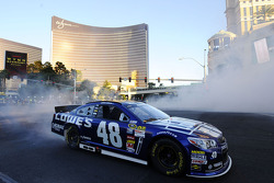 Jimmie Johnson performs a burnout during NASCAR Victory Lap