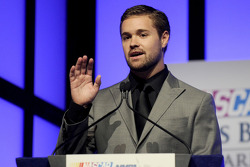Ricky Stenhouse Jr. speaks onstage after winning the Sunoco Rookie of the Year at the NMPA Myers Brothers Awards Luncheon