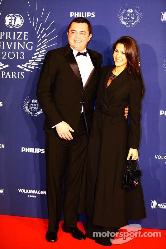 Eric Boullier, chefe da equipe Lotus F1 com sua esposa Tamara Boullier