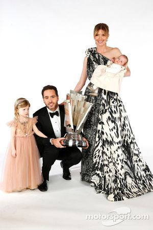 2013 champion Jimmie Johnson, his wife Chandra, daughters Genevieve Marie and Lydia Norriss