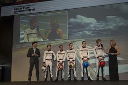 Porsche stellt die LMP1-Fahrer für 2014 vor: Mark Webber, Romain Dumas, Neel Jani, Timo Bernhard, Ma