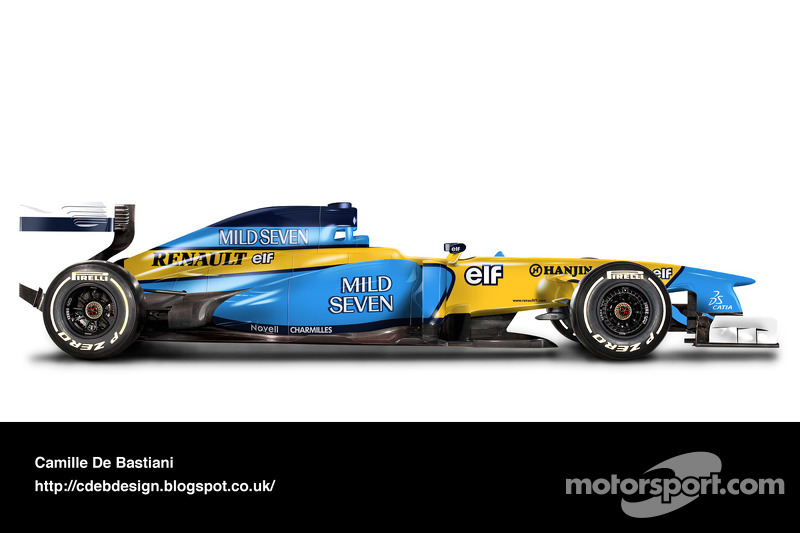 سيارة فورمولا واحد حديثة بألوان رينو 2002
