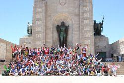 Motor sürücüleri grup fotoğrafı