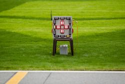 Tijdwaarneming op het gras van de trioval