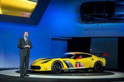 General Motors President Dan Ammann unveils the Chevrolet Corvette C7.R
