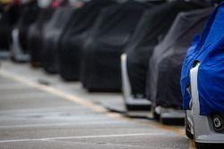 Cars under cover ready to go on track
