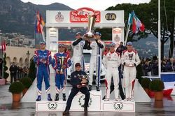 Winners Sébastien Ogier and Julien Ingrassia, second place Bryan Bouffier and Xavier Panseri, third