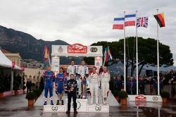 Vencedores Sébastien Ogier e Julien Ingrassia, segundo lugar Bryan Bouffier e Xavier Panseri, tercei
