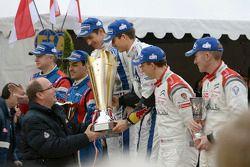 Winners Sébastien Ogier and Julien Ingrassia, second place Bryan Bouffier and Xavier Panseri, third