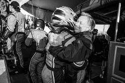 P class and overall pole winner Alex Gurney celebrates with Bob Stallings