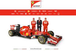 The Ferrari F14 T with drivers Fernando Alonso and Kimi Raikkonen with Stefano Domenicali