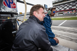 Allan McNish watches the end of the race