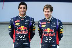 Sebastian Vettel and Daniel Ricciardo unveil the Red Bull Racing RB10
