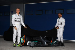 (L to R): Nico Rosberg, Mercedes AMG F1 and team mate Lewis Hamilton, Mercedes AMG F1 at the unveiling of the new Mercedes AMG F1 W05