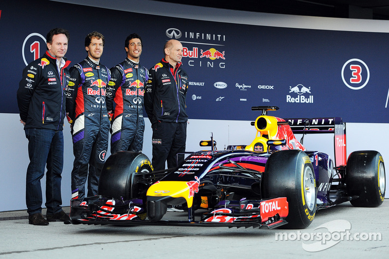 (L to R): Christian Horner, Red Bull Racing Team Principal, Sebastian Vettel, Red Bull Racing, Daniel Ricciardo, Red Bull Racing, and Adrian Newey, Red Bull Racing Chief Technical Officer at the unveiling of the Red Bull Racing RB10
