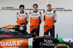 (Links naar rechts): Sergio Perez, Sahara Force India F1, Daniel Juncadella, Sahara Force India F1 T
