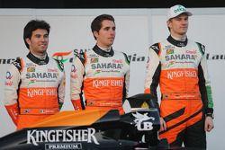 Sergio Perez, Sahara Force India F1; Daniel Juncadella, Testfahrer; Nico Hülkenberg, Sahara Force In