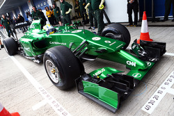 Marcus Ericsson, runs the Caterham CT04 for the first time