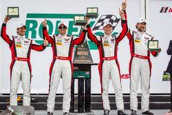 GTD victory lane: Nelson Canache, Spencer Pumpelly, Tim Pappas, Markus Winkelhock