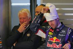 Sebastian Vettel, Red Bull Racing with Charlie Whiting, FIA Delegate