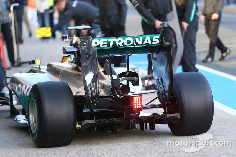 lewis hamilton mercedes amg f1 w05 rear wing and rear diffuser detail at jerez january testing. Black Bedroom Furniture Sets. Home Design Ideas