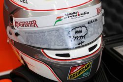 Der Helm von Daniel Juncadella, Sahara Force India F1 Team Test and Reserve Driver with rain visor