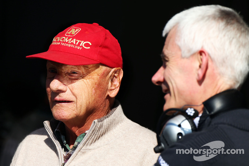 (L to R): Niki Lauda, Mercedes Non-Executive Chairman with Geoff Willis, Mercedes AMG F1 Technology Director