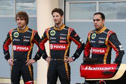 Charles Pic avec Romain Grosjean et Pastor Maldonado lors de la présentation de la Lotus E22