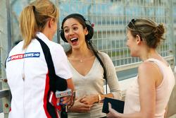 (L to R): Rachel Brookes, Sky Sports F1 Reporter with Jessica Michibata, girlfriend of Jenson Button, McLaren, and Jennie Gow, BBC Radio 5 Live Pitlane Reporter
