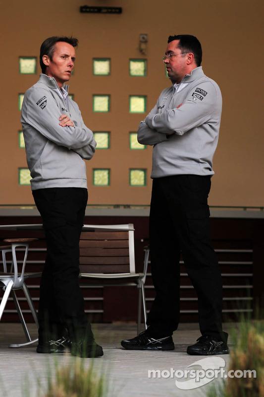 (L to R): Sam Michael, McLaren Sporting Director with Eric Boullier, McLaren Racing Director