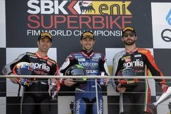 Race 1 podium: race winner Eugene Laverty, second place Marco Melandri, third place Sylvain Guintoli