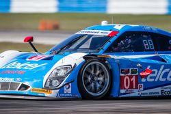 Kapotte spiegel voor #01 Chip Ganassi Racing Riley DP Ford EcoBoost: Scott Pruett, Memo Rojas, Scott