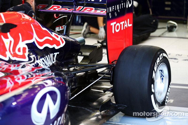 Sebastian Vettel, Red Bull Racing RB10 rear suspension detail