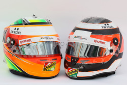 Los cascos de Sahara Force India F1, Sergio Pérez y Nico Hulkenberg, Sahara Force India F1