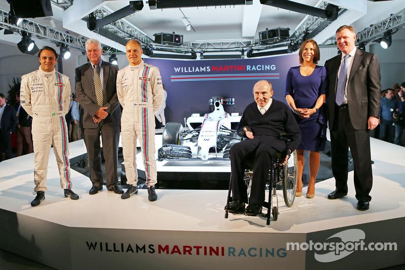 Williams-Teampräsentation 2014: Felipe Massa, Pat Symonds, Valtteri Bottas, Frank Williams, Claire W