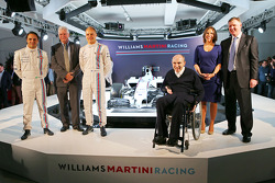 Felipe Massa en Valtteri Bottas, Pat Symonds, Sir Frank Williams, Claire Williams, Williams Martini