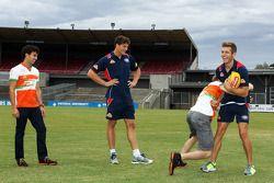 (L to R): Sergio Perez, Sahara Force India F1 and Will Minson, Western Bulldogs Australian Rules Foo