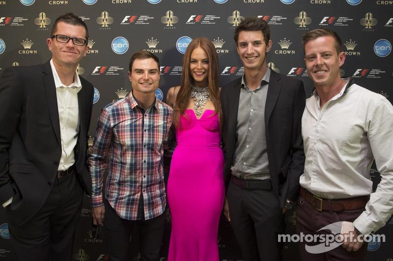 Garth Tander, Tim Slade, Nick Percat and James Courtney with Formula One Rolex Australian Grand Prix