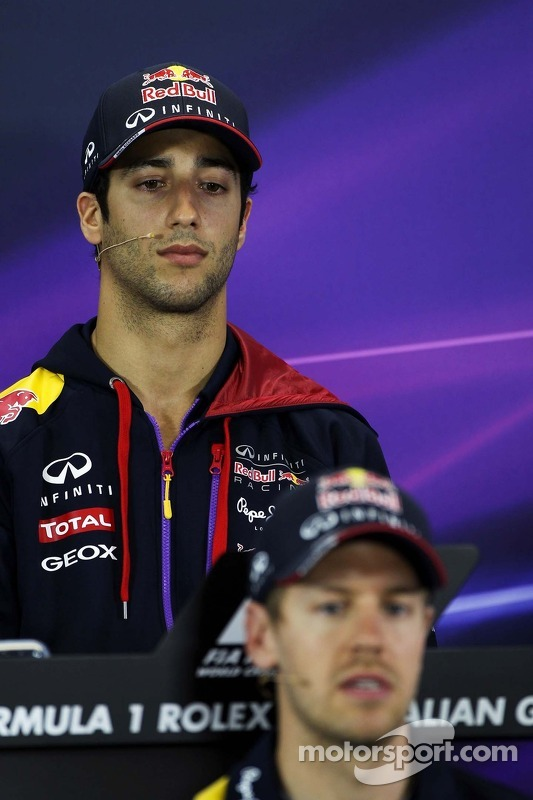 Daniel Ricciardo, Red Bull Racing and team mate Sebastian Vettel, Red Bull Racing in the FIA Press Conference