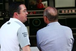 (L to R): Eric Boullier, McLaren Racing Director with Ron Dennis, McLaren Executive Chairman.