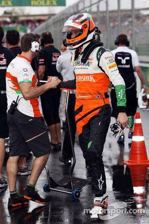 Nico Hulkenberg, Sahara Force India F1, viert feest in parc ferme