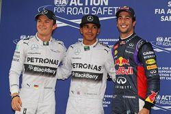 Kwalificatie top-3 in parc ferme, Nico Rosberg, Mercedes AMG F1, derde; Lewis Hamilton, Mercedes AMG